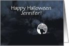 Happy Halloween Black Cat and Full Moon Customize Any Name card