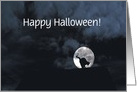 Happy Halloween Black Cat and Full Moon Customize card