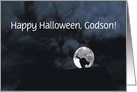 Happy Halloween Black Cat and Full Moon Godson Customize card