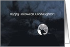 Happy Halloween Black Cat and Full Moon Goddaughter Customize card