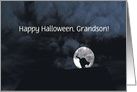 Happy Halloween Black Cat and Full Moon Grandson Customize card