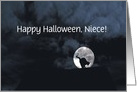 Happy Halloween Black Cat and Full Moon Niece Customize card
