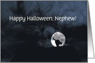 Happy Halloween Black Cat and Full Moon Nephew Customize card