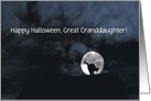 Happy Halloween Black Cat and Full Moon great granddaughter Customize card