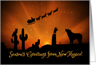 Southwestern Season's Greetings From New Mexico Coyote and Cactus card
