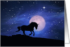 Unicorn Whimsical Moon Stars at Night Blank Note Cards