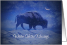 Buffalo in the Snow with Crescent Moon Winter Solstice Blessings card