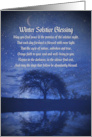 Winter Solstice Yule Blessing Night and Crescent Moon Stars and Oak card