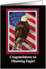 Eagle Scout Congratulations with Bald Eagle and American Flag card