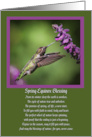 Spring Equinox Ostara Blessing Hummingbird and Cute Bug on Flower card