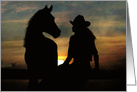 Country Western Cowgirl and Horse Say Hello card