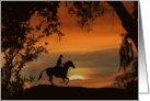 Country Western Cowboy Sunset Moving Happ Trails card