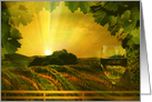 Wine Thank You, Sunset Wine Country with Vineyard and WIne Glass card