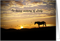 horse sympathy card to personalized with horse's name card