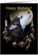 Birthday Dream-catcher and full moon with Siberian Husky card