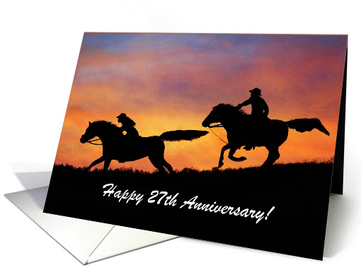 Cowboy and Cowgirl 27th Anniversary card (1265438)