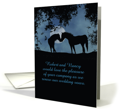 Two Horses in Moonlight Vow Renewal Customized card (1303134)