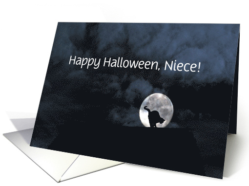 Happy Halloween Black Cat and Full Moon Niece Customize card (1311504)