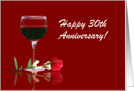 Red Wine & Rose Customizable Happy 30th Anniversary card