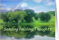 Feel Better Moon and Rainbow Healing Thoughts card