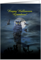 Halloween Grandson Owl in the Moonlight Customizable card