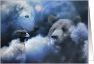 Happy Winter Solstice Wolf, Bear, Eagle and Moon card