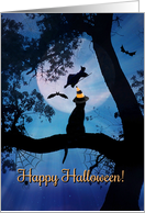 Happy Halloween Black Cat and Witch Cute Greeting card