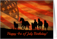 Happy Fourth of July Birthday on the 4th of July With Horses and Flag card