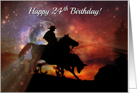 Rustic Country Western Cowboy Happy 24th Birthday Horse, Steer Roping card