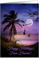 Tropical Beach Sailing Ship Happy Holidays from Hawaii with Palm card