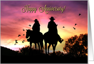 Country Western Rustic Happy Anniversary with Cowgirl and Cowboy card