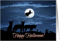 Wild Coyote Wolf Pack Witch and Moon Happy Halloween card
