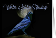 Winter Solstice Blessing Raven and Moon at Night, Spiritual card