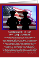 Boot Camp Graduation Flag Patriotic Famous Quote President Roosevelt card