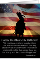 Happy 4th Of July Birthday, Born on the 4th of July, Patriotic Cowboy card