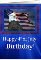 Happy 4th of July Birthday Bald Eagle and American Flag card