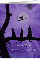 Black Cats and Witch Hats Happy Halloween card