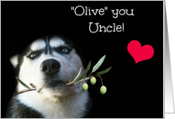 Cute and Funny Uncle Happy Birthday With Husky Dog card