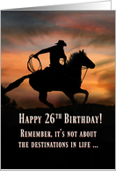 Western Themed Cowboy and Horse Happy 26th Birthday card