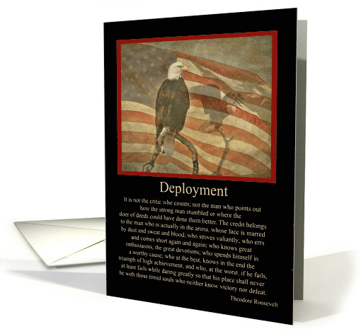 Vintage Eagle and Flag Military Deployment with Famous Quote card