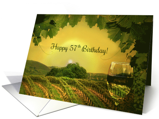 57th Birthday Wine and Vineyard Classy Vintage Funny card (1639884)