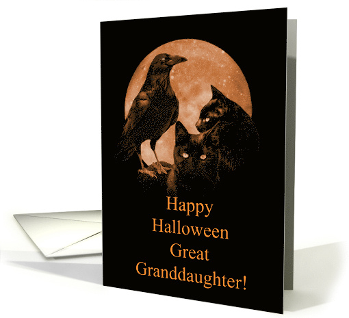 Cats and Raven Halloween for Great Granddaughter card (1644060)
