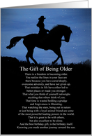 Getting Older Birthday Wise Words Horse and Rider Stars and Night Sky card