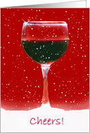 red wine cheers christmas card