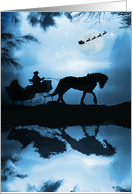 Merry Christmas from Across the Miles Horse and Sleigh with Frozen Pon card