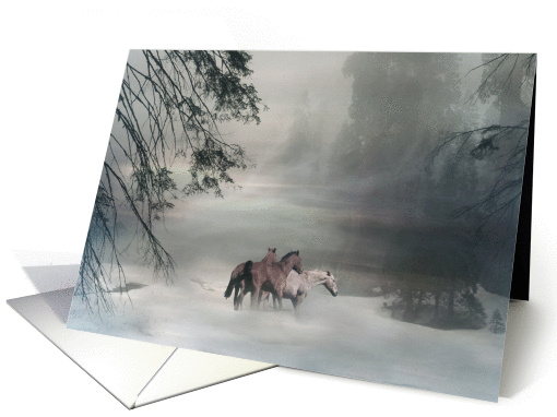 Horses in Snow Merry Christmas card (731125)