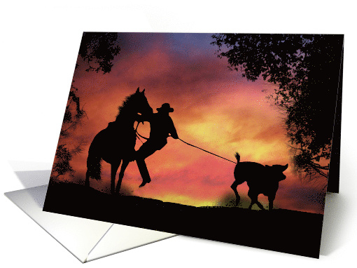 cowboy and Horse Roping a Steer in the Sunset Cool Birthday card