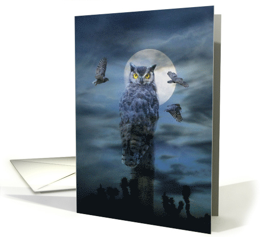 Funny Happy Halloween Scary Owl and Full Moon card (940359)