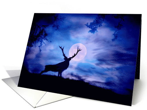 Elk and Moon Christmas Greeting card (986549)