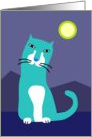 Blue Cat by Moonlight card